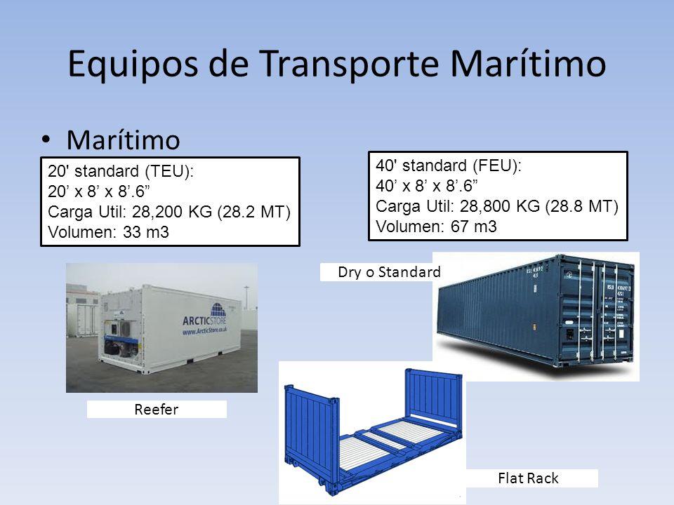 Equipos de Transporte Marítimo Marítimo 20' standard (TEU): 20 x 8 x 8.6 Carga Util: 28,200 KG (28.2 MT) Volumen: 33 m3 40' standard (FEU): 40 x 8 x 8