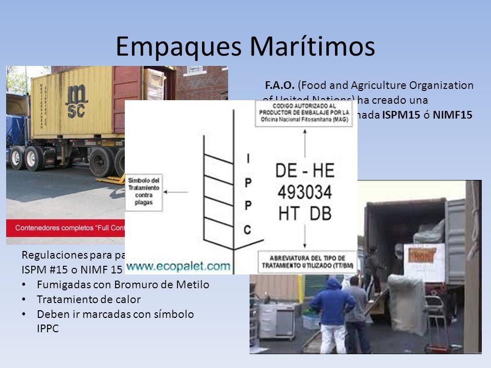 Empaques Marítimos Regulaciones para paletas de madera ISPM #15 o NIMF 15 Fumigadas con Bromuro de Metilo Tratamiento de calor Deben ir marcadas con s