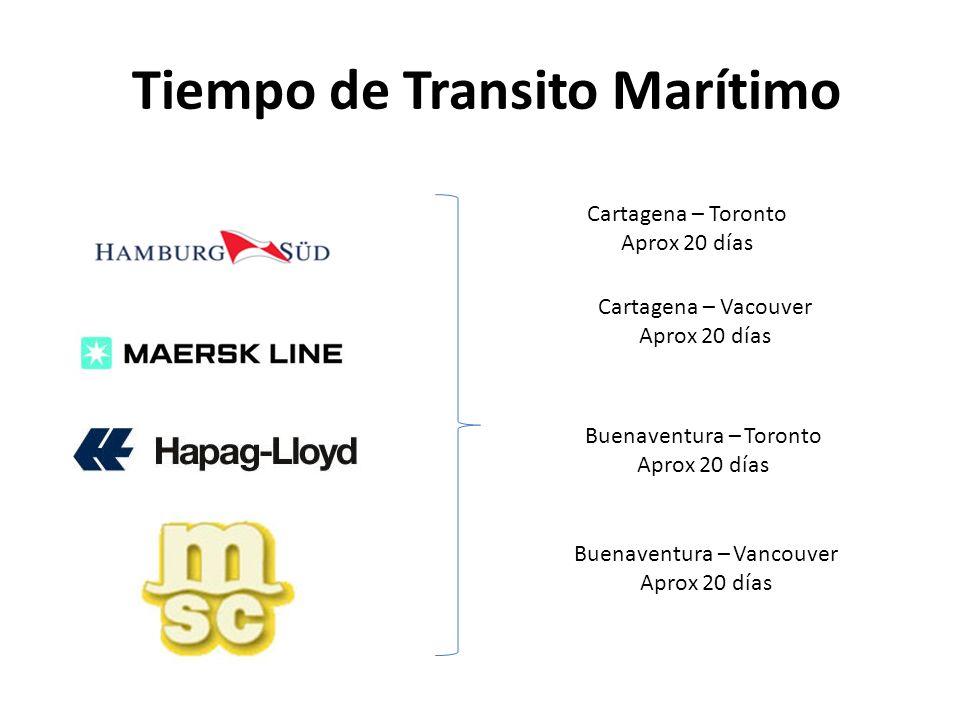 Tiempo de Transito Marítimo Cartagena – Toronto Aprox 20 días Cartagena – Vacouver Aprox 20 días Buenaventura – Toronto Aprox 20 días Buenaventura – V