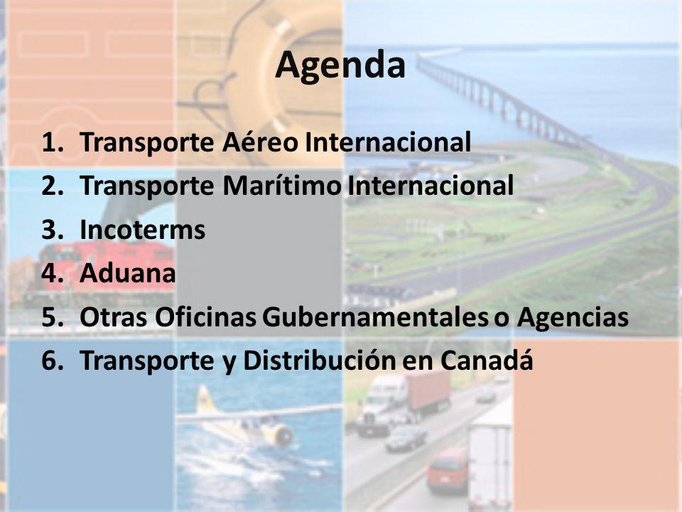Agenda 1.Transporte Aéreo Internacional 2.Transporte Marítimo Internacional 3.Incoterms 4.Aduana 5.Otras Oficinas Gubernamentales o Agencias 6.Transpo
