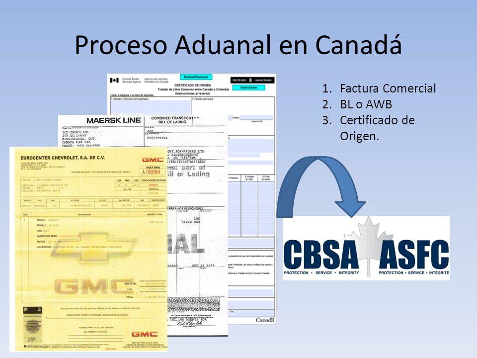 Proceso Aduanal en Canadá 1.Factura Comercial 2.BL o AWB 3.Certificado de Origen.