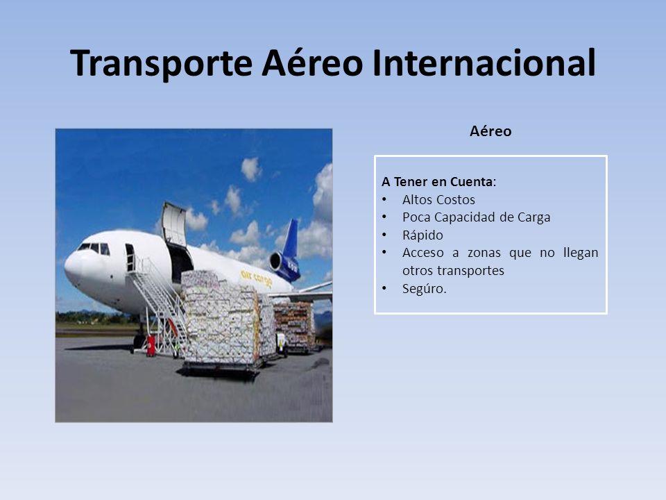 Transporte Aéreo Internacional Aéreo A Tener en Cuenta: Altos Costos Poca Capacidad de Carga Rápido Acceso a zonas que no llegan otros transportes Seg