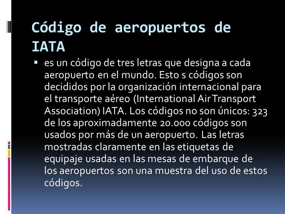 es un código de tres letras que designa a cada aeropuerto en el mundo. Esto s códigos son decididos por la organización internacional para el transpor