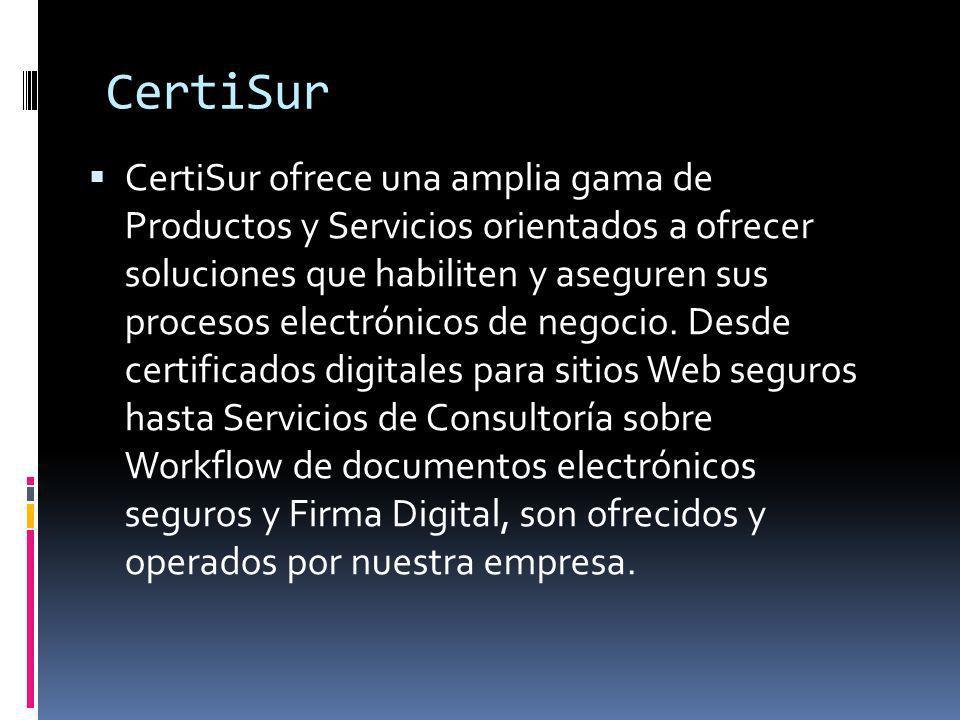 CertiSur InternetIndividuos o Certificados SSL Sitio Seguro o Certificados SSL Extended Validation o Certificado de Firma de Código o Correo Electrónico Corporativo Seguro o Autoridad Certificante Administrada o Sello de Sitio Seguro o VeriSign Identity Protection (VIP) o Certificados SSL de Sitio Seguro - Thawte o Gateway de Pagos o Certificados SAN True BusinessID o Certificados Wildcard True BusinessID CertiSur Authentication Bureau ID Firma Digital de Documentos Cifrado de disco y archivos Administración de claves Consultoría Análisis de factibilidad PKI Introduction Research Definición de prácticas de auditoría Desarrollo de documentos legales Análisis de Integración y Auditoría Plan Director de Autoridad Certificante