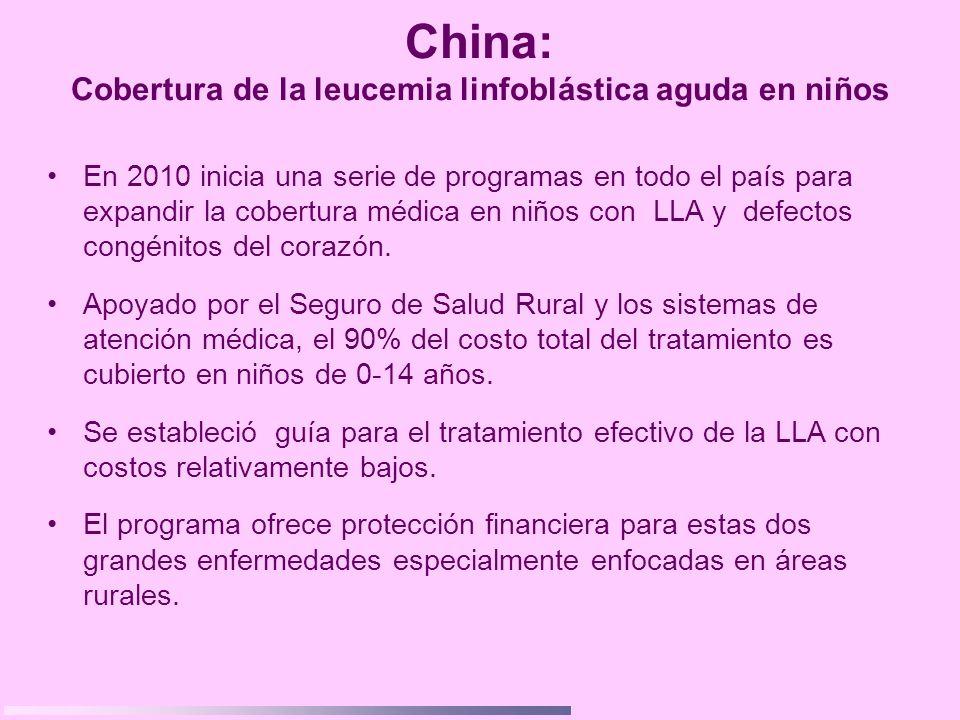 China: Cobertura de la leucemia linfoblástica aguda en niños En 2010 inicia una serie de programas en todo el país para expandir la cobertura médica e