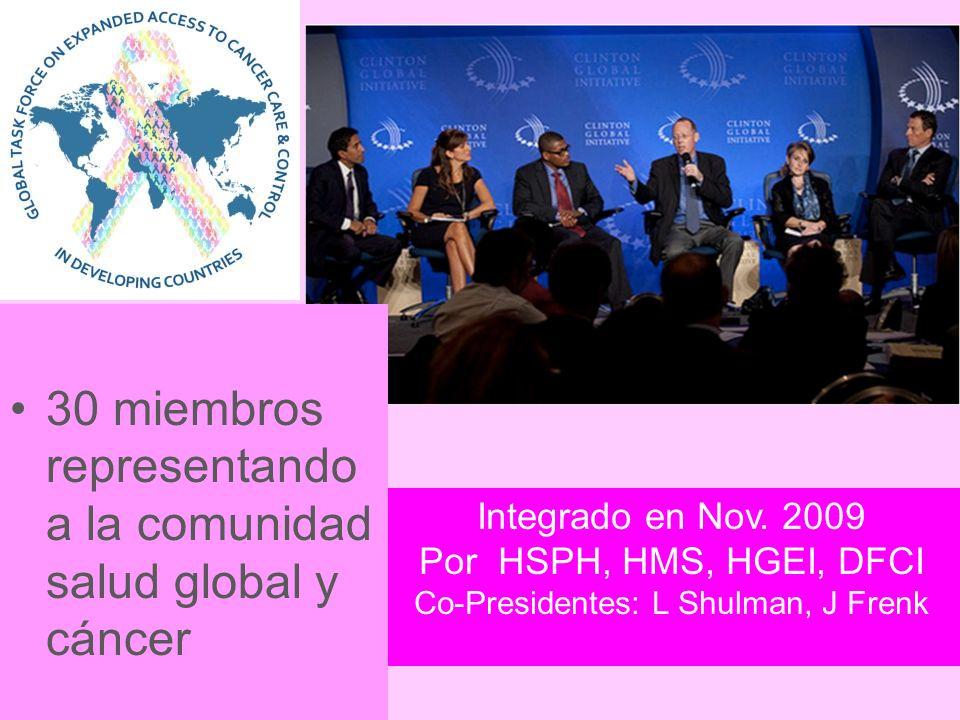 Integrado en Nov. 2009 Por HSPH, HMS, HGEI, DFCI Co-Presidentes: L Shulman, J Frenk 30 miembros representando a la comunidad salud global y cáncer