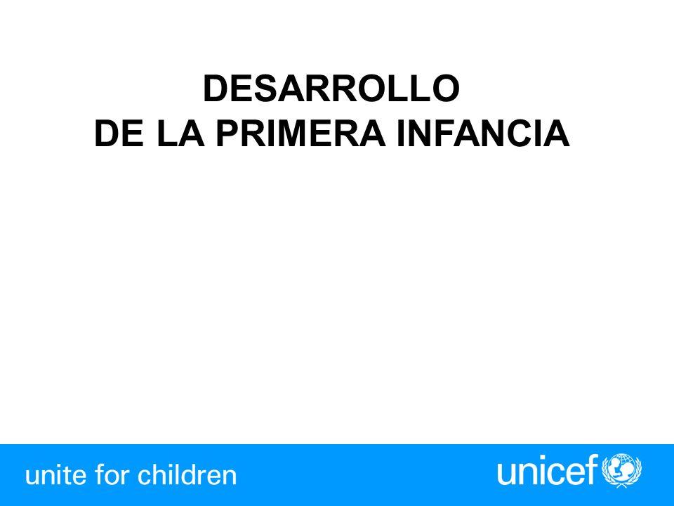 Visión del Desarrollo de la Primera Infancia Todos los niños/niñas deben estar físicamente saludables, mentalmente alertos, socialmente competentes, emocionalmente saludables y capaces de aprender (Un Mundo Apropiado para Niños, 2002)