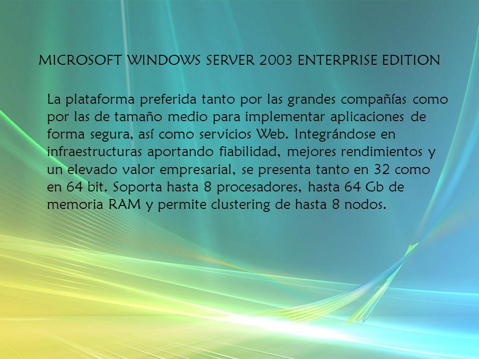 MICROSOFT WINDOWS SERVER 2003 ENTERPRISE EDITION La plataforma preferida tanto por las grandes compañías como por las de tamaño medio para implementar aplicaciones de forma segura, así como servicios Web.