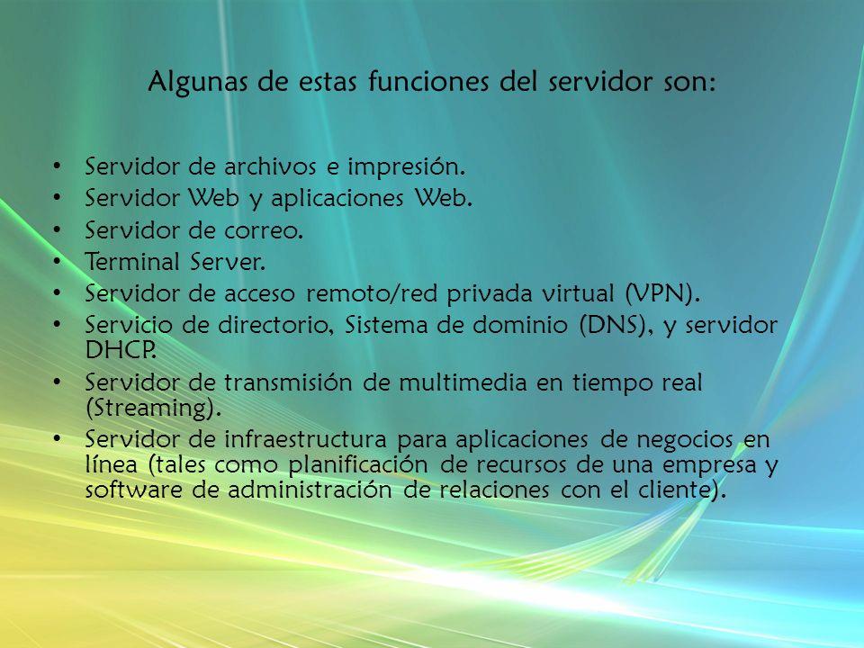 Algunas de estas funciones del servidor son: Servidor de archivos e impresión.
