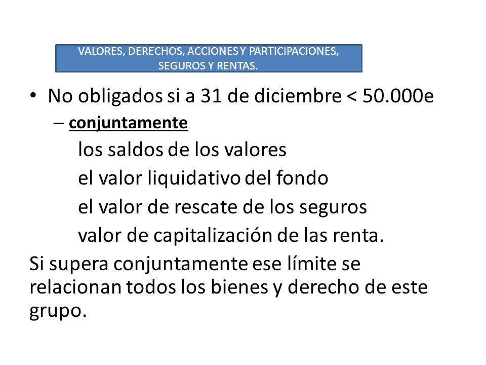 No obligados si a 31 de diciembre < 50.000e – conjuntamente los saldos de los valores el valor liquidativo del fondo el valor de rescate de los seguro