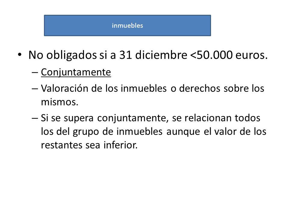 No obligados si a 31 diciembre <50.000 euros. – Conjuntamente – Valoración de los inmuebles o derechos sobre los mismos. – Si se supera conjuntamente,