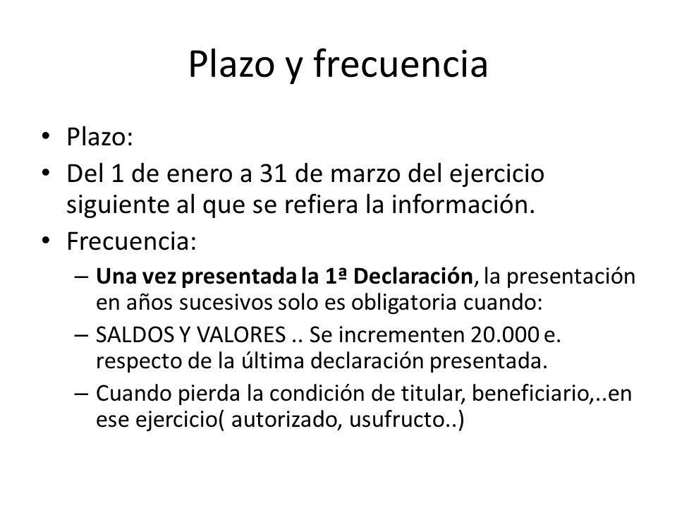 Plazo y frecuencia Plazo: Del 1 de enero a 31 de marzo del ejercicio siguiente al que se refiera la información. Frecuencia: – Una vez presentada la 1