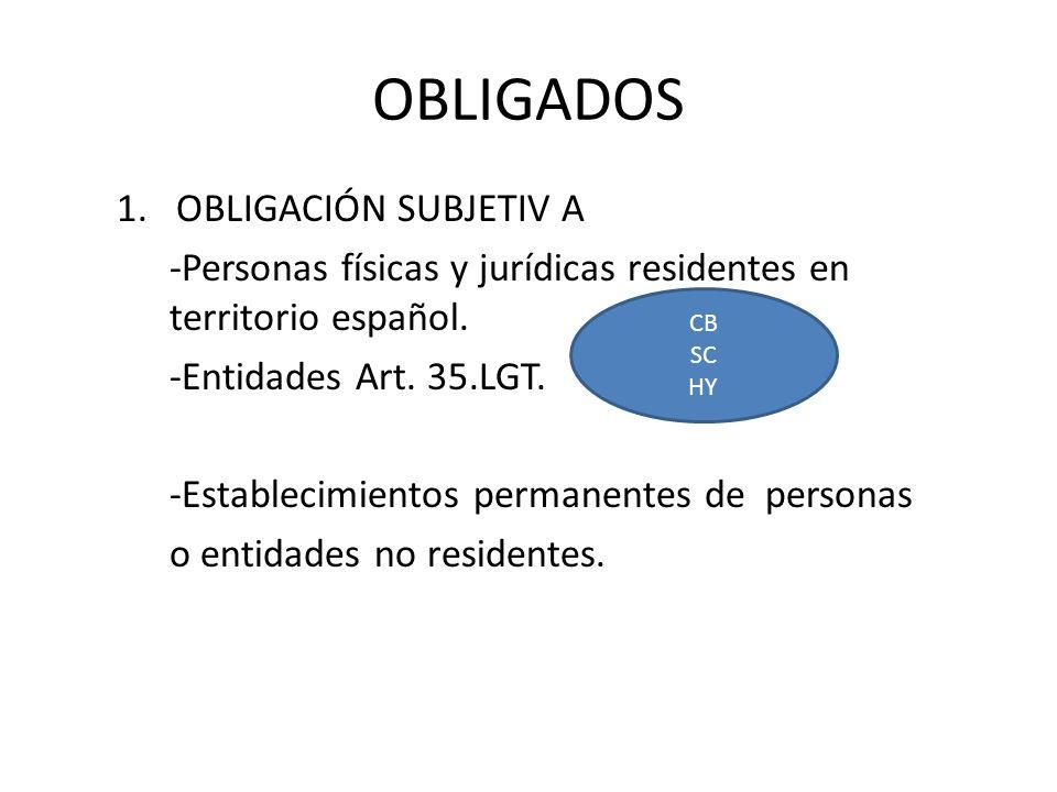 OBLIGADOS 1.OBLIGACIÓN SUBJETIV A -Personas físicas y jurídicas residentes en territorio español. -Entidades Art. 35.LGT. -Establecimientos permanente