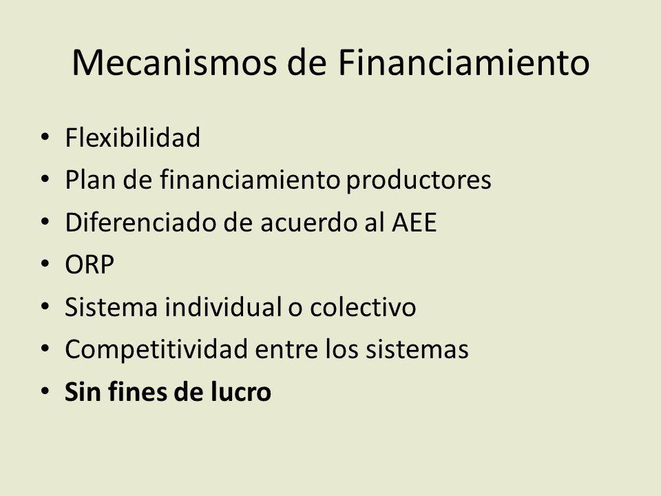 Mecanismos de Financiamiento Flexibilidad Plan de financiamiento productores Diferenciado de acuerdo al AEE ORP Sistema individual o colectivo Competitividad entre los sistemas Sin fines de lucro