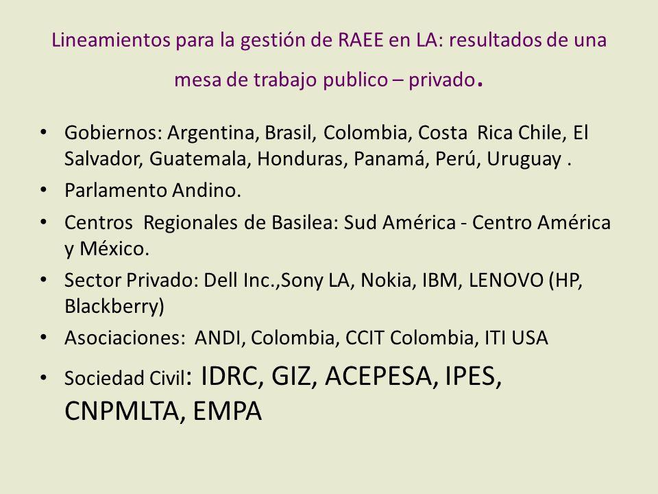Lineamientos para la gestión de RAEE en LA: resultados de una mesa de trabajo publico – privado. Gobiernos: Argentina, Brasil, Colombia, Costa Rica Ch