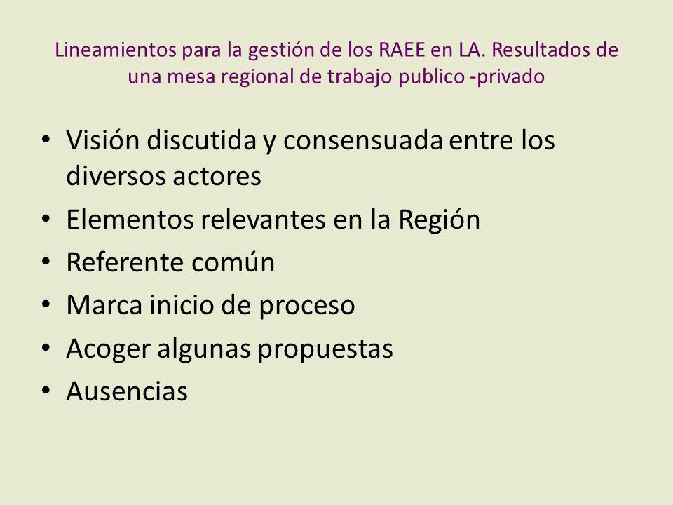 Lineamientos para la gestión de los RAEE en LA. Resultados de una mesa regional de trabajo publico -privado Visión discutida y consensuada entre los d