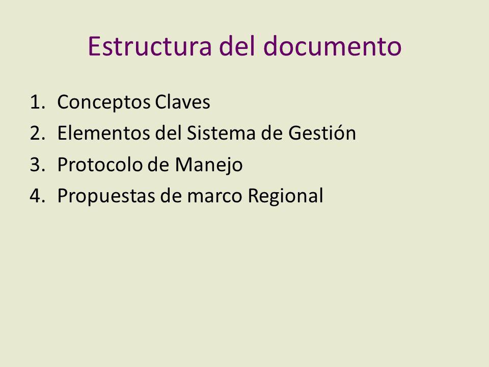 Estructura del documento 1.Conceptos Claves 2.Elementos del Sistema de Gestión 3.Protocolo de Manejo 4.Propuestas de marco Regional