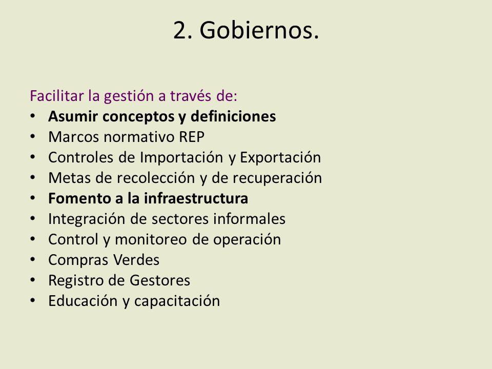 2. Gobiernos. Facilitar la gestión a través de: Asumir conceptos y definiciones Marcos normativo REP Controles de Importación y Exportación Metas de r
