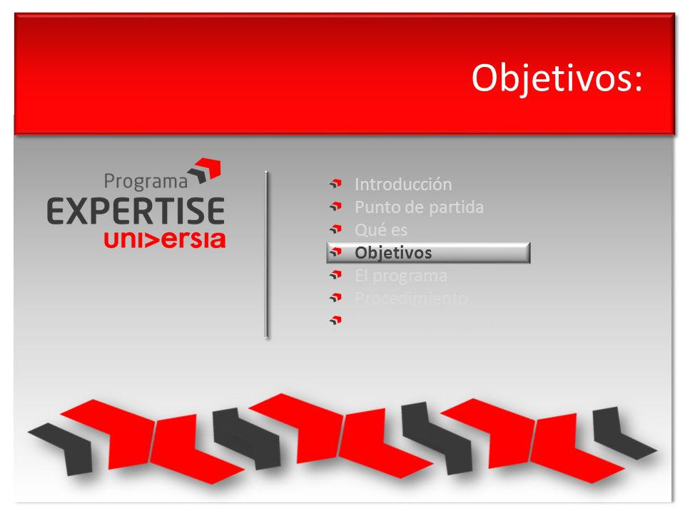 Objetivos: Introducción Punto de partida Qué es Objetivos El programa Procedimiento Modelo de negocio