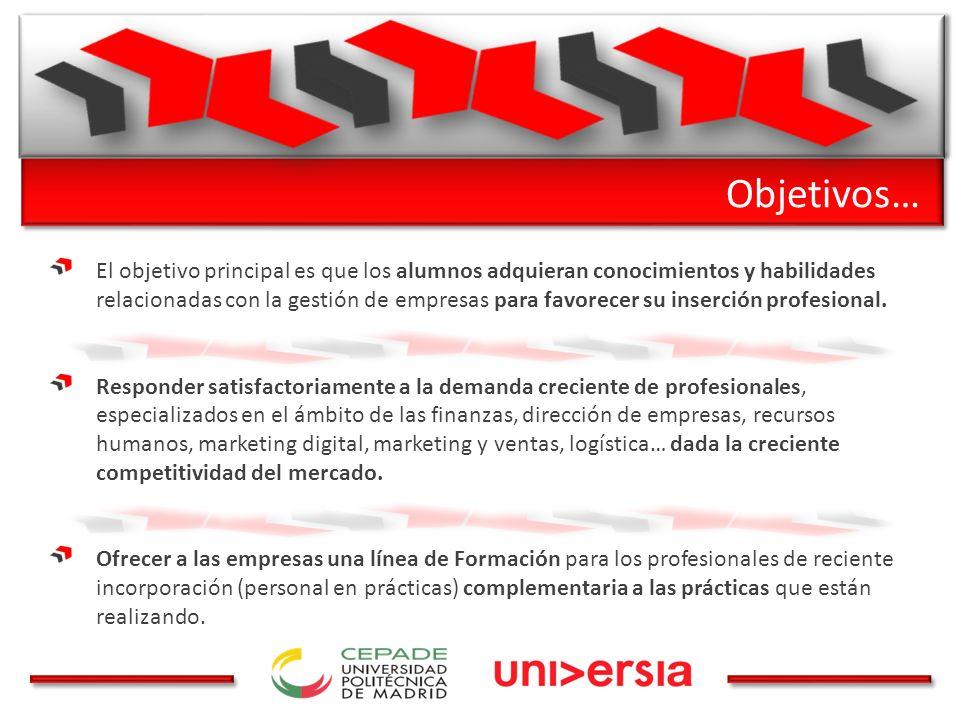 Objetivos… El objetivo principal es que los alumnos adquieran conocimientos y habilidades relacionadas con la gestión de empresas para favorecer su inserción profesional.