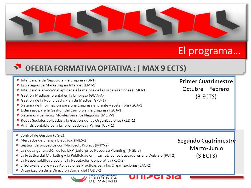 El programa… OFERTA FORMATIVA OPTATIVA : ( MAX 9 ECTS) Control de Gestión (CG-2) Mercados de Energía Eléctrica: (MES-2) Gestión de proyectos con Microsoft Project (MPY-2) La nueva generación de los ERP (Enterprise Resource Planning) (NGE-2) La Práctica del Marketing y la Publicidad en Internet: de los Buscadores a la Web 2.0 (PUI-2) La Responsabilidad Social y la Reputación Corporativa (RSC-2) El Software Libre y sus Aplicaciones Prácticas para las Organizaciones (SAO-2) Organización de la Dirección Comercial ( ODC-2) Segundo Cuatrimestre Marzo- Junio (3 ECTS) Inteligencia de Negocio en la Empresa (BI-1) Estrategias de Marketing en Internet (EMI-1) Inteligencia emocional aplicada a la mejora de las organizaciones (EMO-1) Gestión Medioambiental en la Empresa (GMA-A) Gestión de la Publicidad y Plan de Medios (GPU-1) Sistema de Información para una Empresa eficiente y sostenible (GCA-1) Liderazgo para la Gestión del Cambio en la Empresa (GCA-1) Sistemas y Servicios Móviles para los Negocios (MOV-1) Redes Sociales aplicadas a la Gestión de las Organizaciones (RED-1) Análisis contable para Emprendedores y Pymes (CEP-1) Primer Cuatrimestre Octubre – Febrero (3 ECTS)