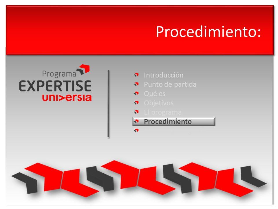 Procedimiento: Introducción Punto de partida Qué es Objetivos El programa Procedimiento Modelo de negocio