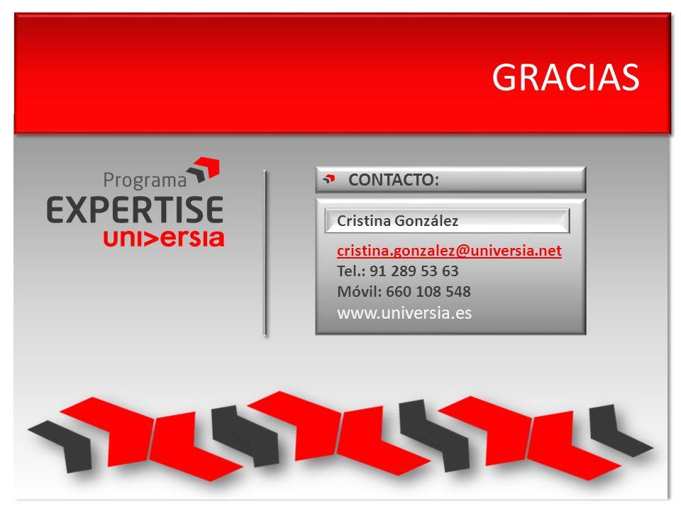 GRACIAS CONTACTO: www.universia.es Cristina González cristina.gonzalez@universia.net Tel.: 91 289 53 63 Móvil: 660 108 548