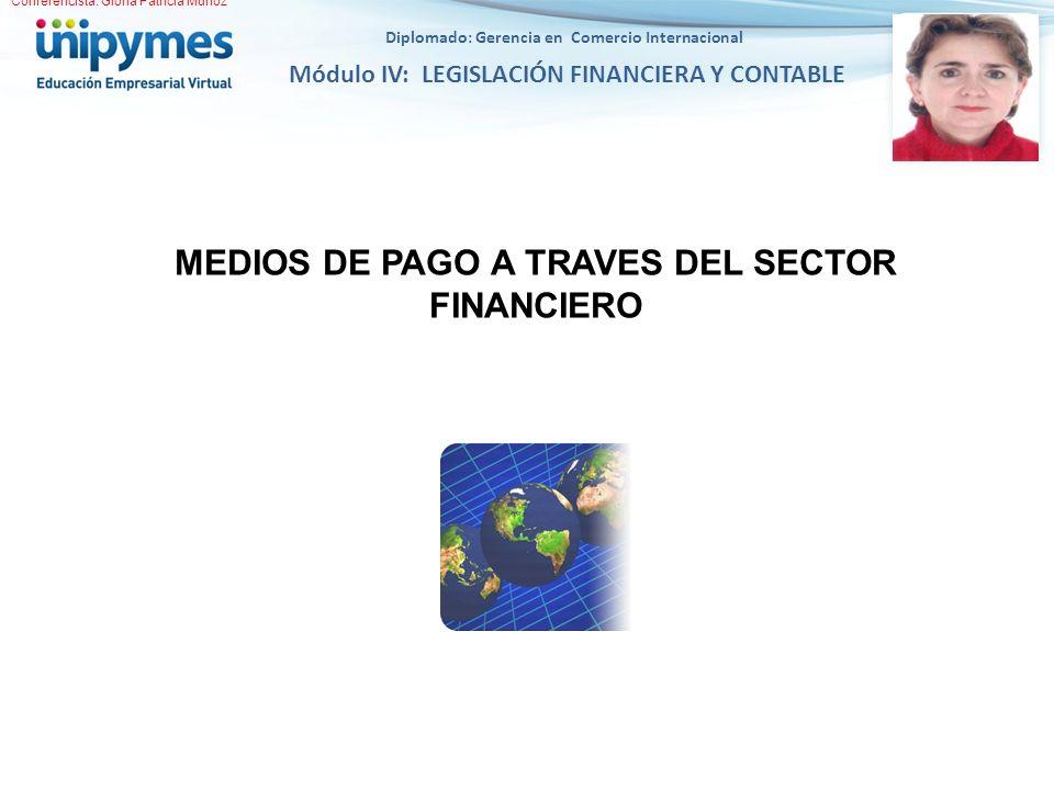Diplomado: Gerencia en Comercio Internacional Módulo IV: LEGISLACIÓN FINANCIERA Y CONTABLE MEDIOS DE PAGO A TRAVES DEL SECTOR FINANCIERO Conferencista