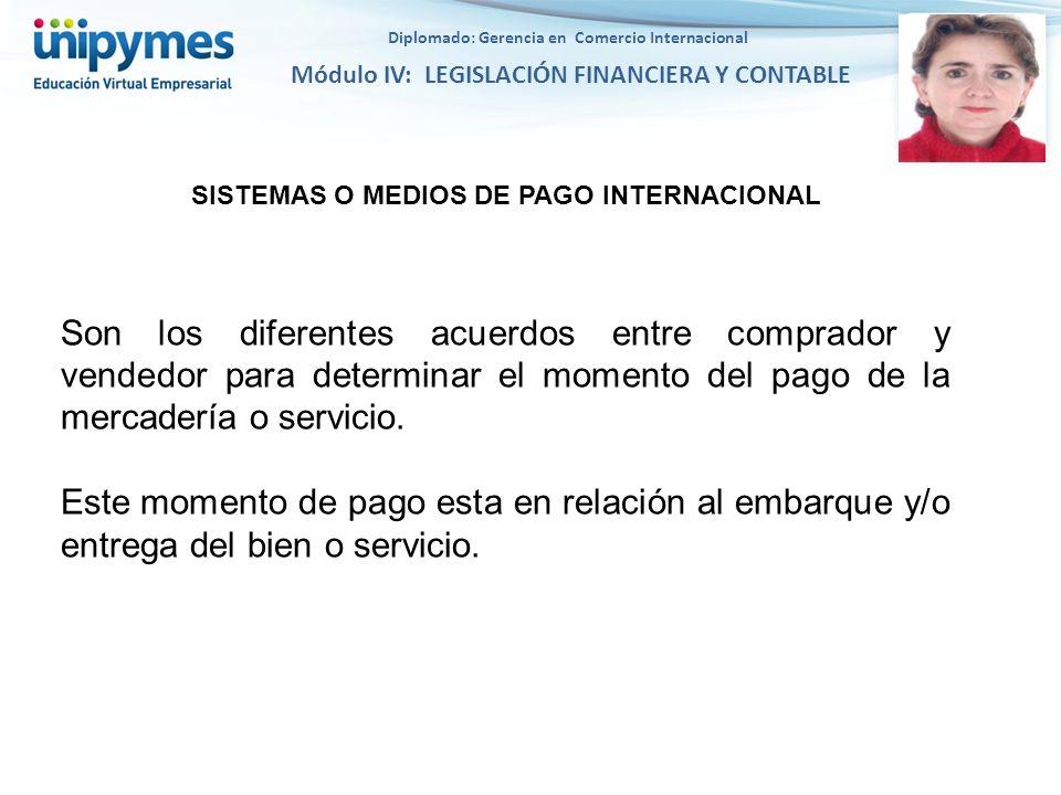Diplomado: Gerencia en Comercio Internacional Módulo IV: LEGISLACIÓN FINANCIERA Y CONTABLE SISTEMAS O MEDIOS DE PAGO INTERNACIONAL Son los diferentes