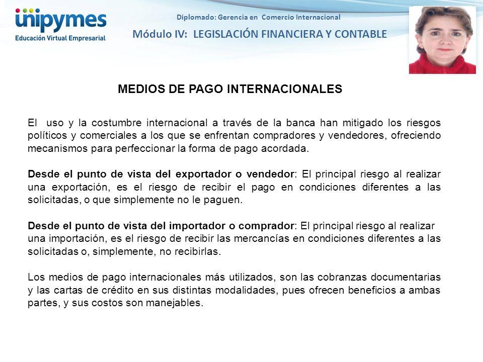 Diplomado: Gerencia en Comercio Internacional Módulo IV: LEGISLACIÓN FINANCIERA Y CONTABLE MEDIOS DE PAGO INTERNACIONALES El uso y la costumbre intern