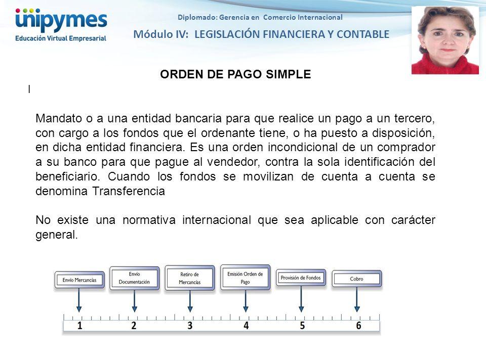 Diplomado: Gerencia en Comercio Internacional Módulo IV: LEGISLACIÓN FINANCIERA Y CONTABLE l ORDEN DE PAGO SIMPLE Mandato o a una entidad bancaria par