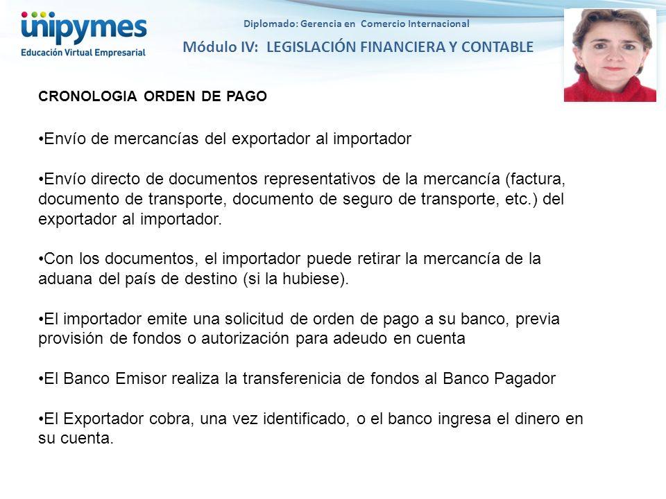 Diplomado: Gerencia en Comercio Internacional Módulo IV: LEGISLACIÓN FINANCIERA Y CONTABLE Envío de mercancías del exportador al importador Envío dire
