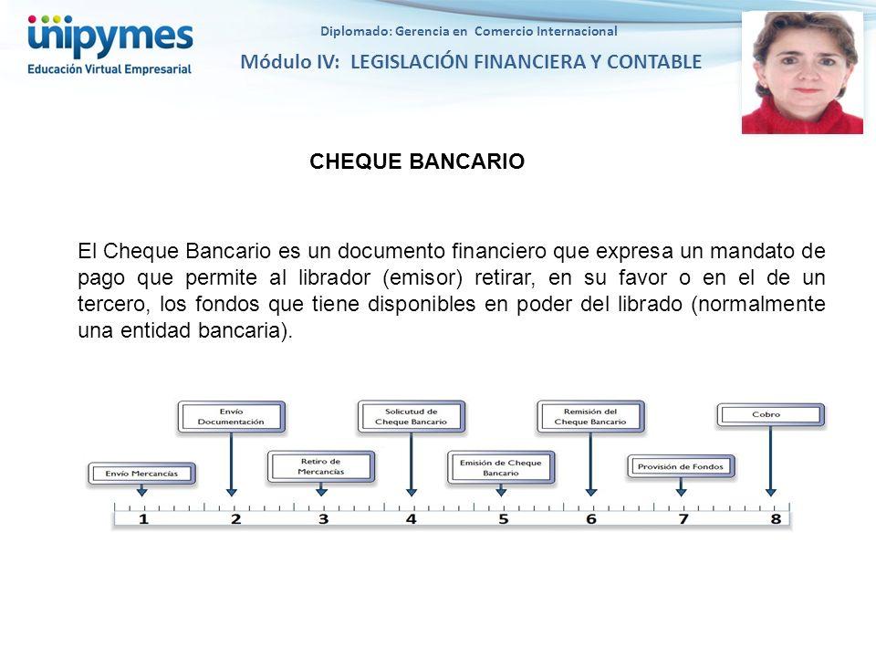 Diplomado: Gerencia en Comercio Internacional Módulo IV: LEGISLACIÓN FINANCIERA Y CONTABLE CHEQUE BANCARIO El Cheque Bancario es un documento financie