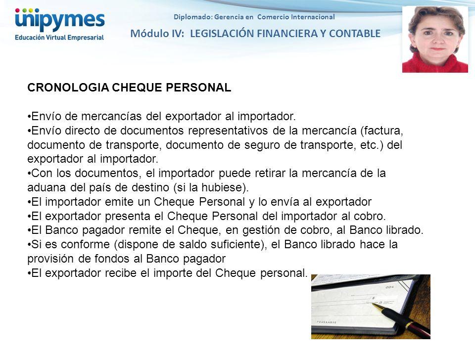 Diplomado: Gerencia en Comercio Internacional Módulo IV: LEGISLACIÓN FINANCIERA Y CONTABLE CRONOLOGIA CHEQUE PERSONAL Envío de mercancías del exportad