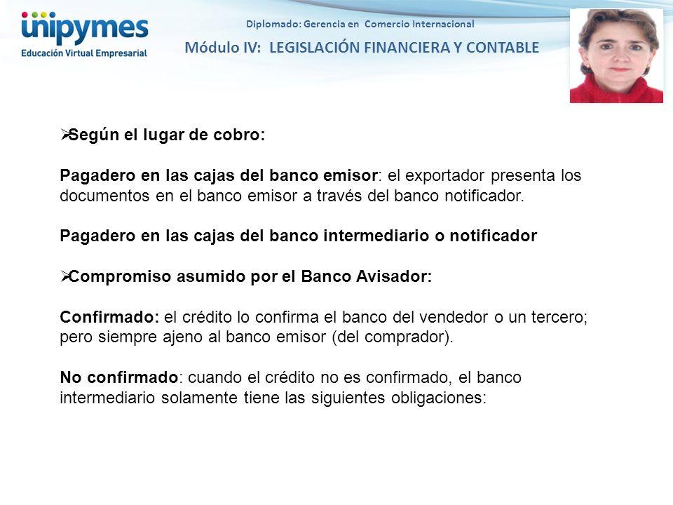 Diplomado: Gerencia en Comercio Internacional Módulo IV: LEGISLACIÓN FINANCIERA Y CONTABLE Según el lugar de cobro: Pagadero en las cajas del banco em