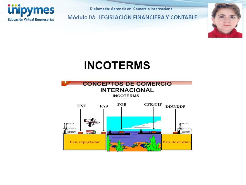 Diplomado: Gerencia en Comercio Internacional Módulo IV: LEGISLACIÓN FINANCIERA Y CONTABLE INCOTERMS