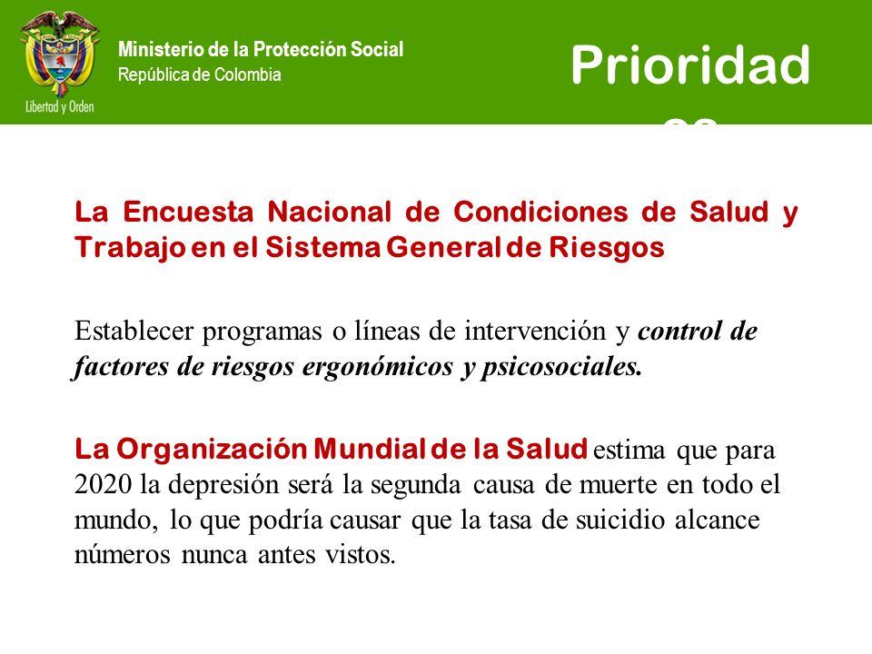 Ministerio de la Protección Social República de Colombia Prioridad es La Encuesta Nacional de Condiciones de Salud y Trabajo en el Sistema General de Riesgos Establecer programas o líneas de intervención y control de factores de riesgos ergonómicos y psicosociales.