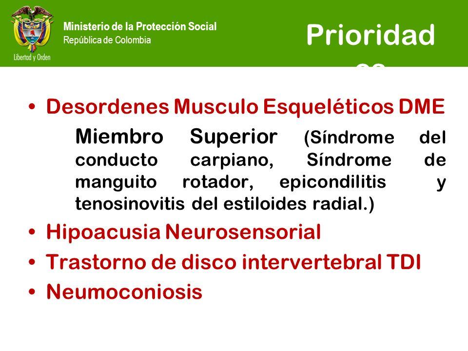 Ministerio de la Protección Social República de Colombia Prioridad es Desordenes Musculo Esqueléticos DME Miembro Superior (Síndrome del conducto carpiano, Síndrome de manguito rotador, epicondilitis y tenosinovitis del estiloides radial.) Hipoacusia Neurosensorial Trastorno de disco intervertebral TDI Neumoconiosis