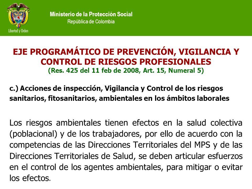 Ministerio de la Protección Social República de Colombia EJE PROGRAMÁTICO DE PREVENCIÓN, VIGILANCIA Y CONTROL DE RIESGOS PROFESIONALES (Res.