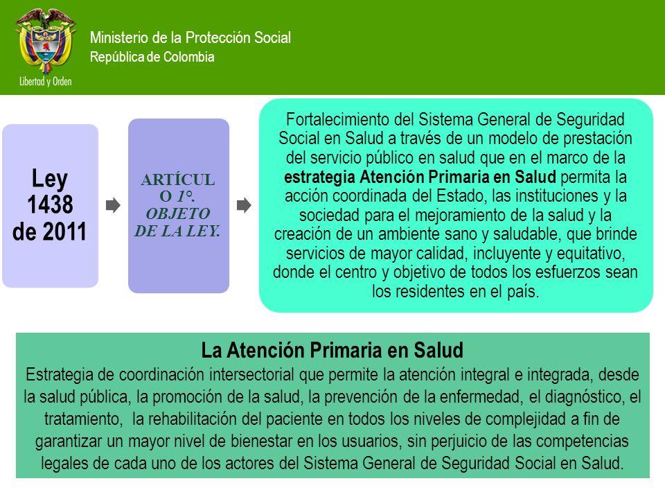 Ministerio de la Protección Social República de Colombia Ley 1438 de 2011 ARTÍCUL O 1°. OBJETO DE LA LEY. Fortalecimiento del Sistema General de Segur
