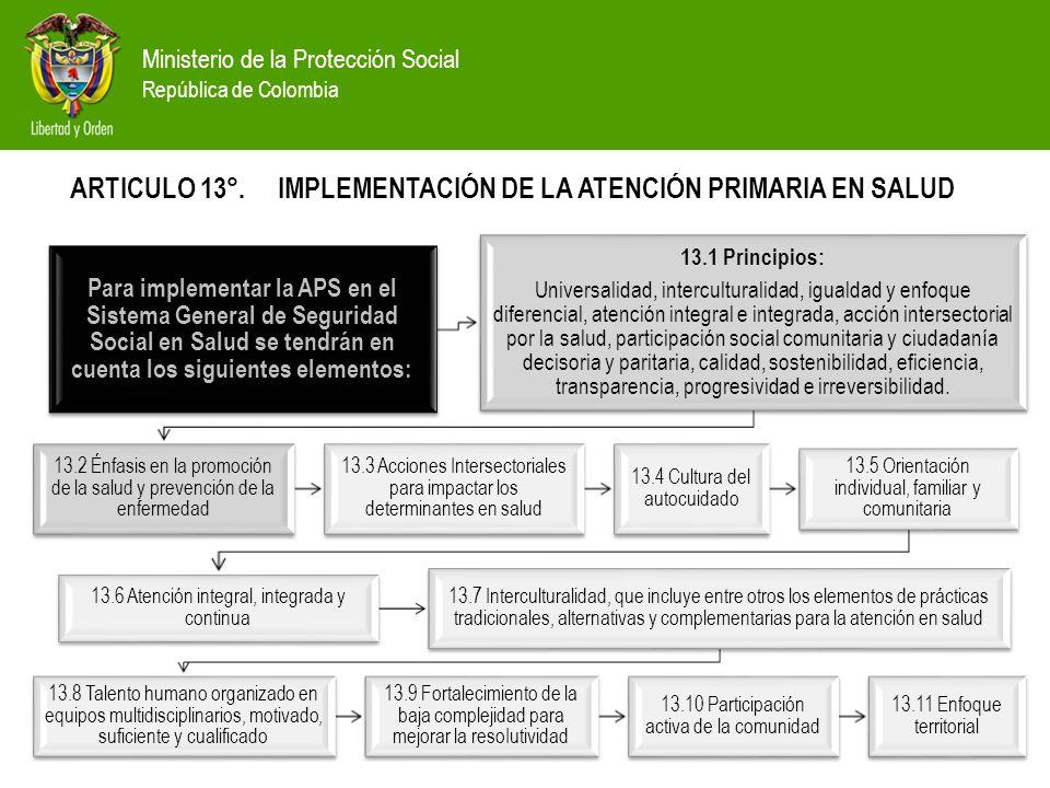 Ministerio de la Protección Social República de Colombia Para implementar la APS en el Sistema General de Seguridad Social en Salud se tendrán en cuen