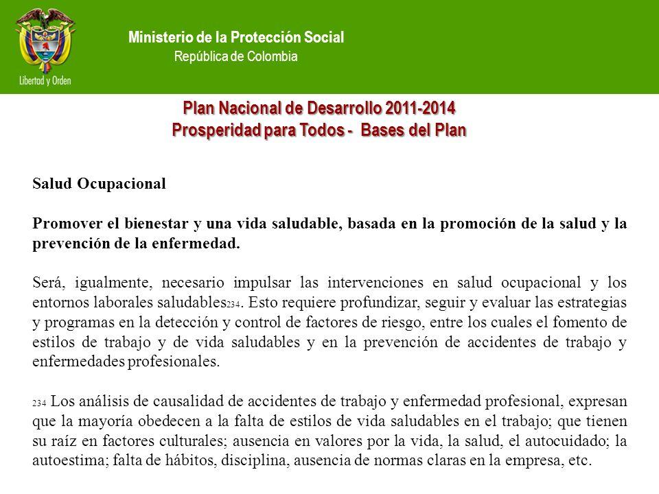 Ministerio de la Protección Social República de Colombia Plan Nacional de Desarrollo 2011-2014 Prosperidad para Todos - Bases del Plan Salud Ocupacional Promover el bienestar y una vida saludable, basada en la promoción de la salud y la prevención de la enfermedad.