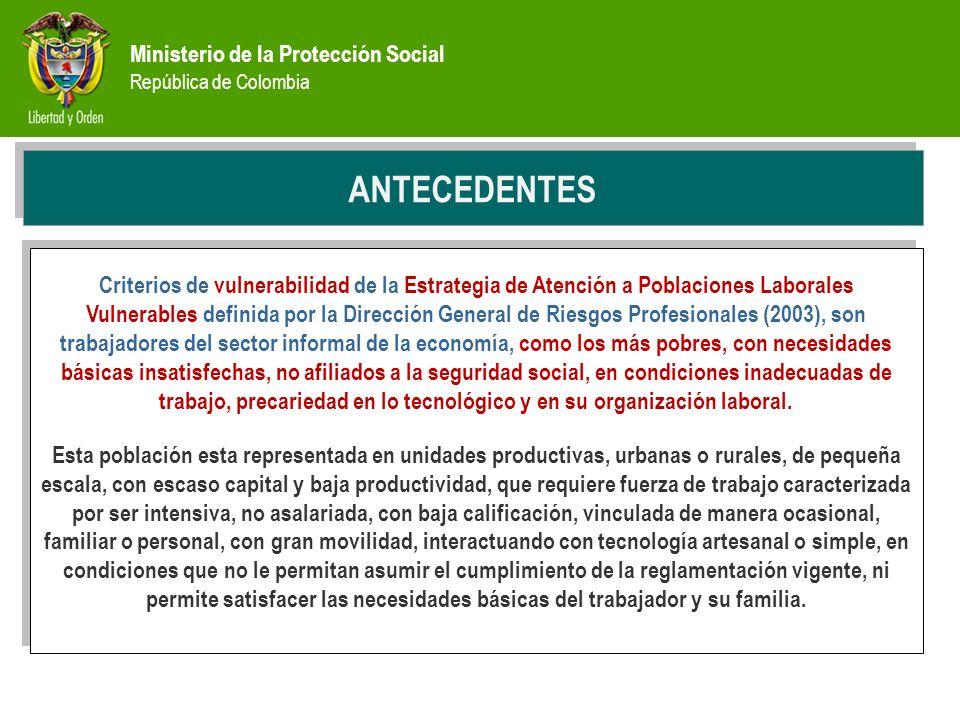 Ministerio de la Protección Social República de Colombia PREVENCIÓN ANTECEDENTES Criterios de vulnerabilidad de la Estrategia de Atención a Poblacione