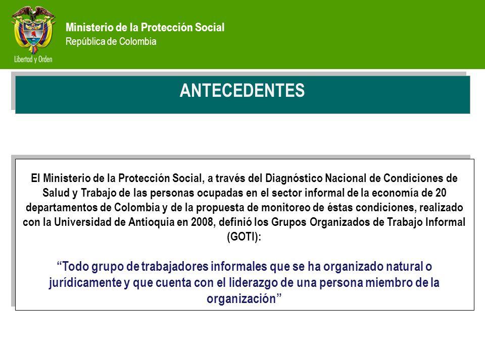 Ministerio de la Protección Social República de Colombia PREVENCIÓN ANTECEDENTES El Ministerio de la Protección Social, a través del Diagnóstico Nacio