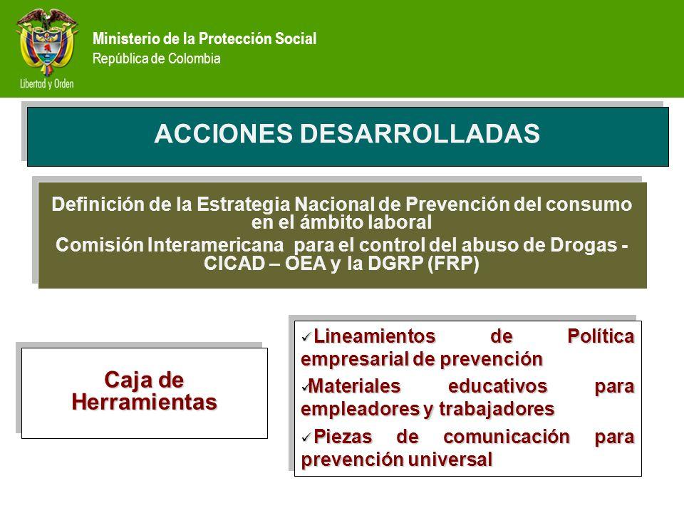 Ministerio de la Protección Social República de Colombia Definición de la Estrategia Nacional de Prevención del consumo en el ámbito laboral Comisión Interamericana para el control del abuso de Drogas - CICAD – OEA y la DGRP (FRP) Definición de la Estrategia Nacional de Prevención del consumo en el ámbito laboral Comisión Interamericana para el control del abuso de Drogas - CICAD – OEA y la DGRP (FRP) ACCIONES DESARROLLADAS Caja de Herramientas Lineamientos de Política empresarial de prevención Lineamientos de Política empresarial de prevención Materiales educativos para empleadores y trabajadores Materiales educativos para empleadores y trabajadores Piezas de comunicación para prevención universal Piezas de comunicación para prevención universal Lineamientos de Política empresarial de prevención Lineamientos de Política empresarial de prevención Materiales educativos para empleadores y trabajadores Materiales educativos para empleadores y trabajadores Piezas de comunicación para prevención universal Piezas de comunicación para prevención universal
