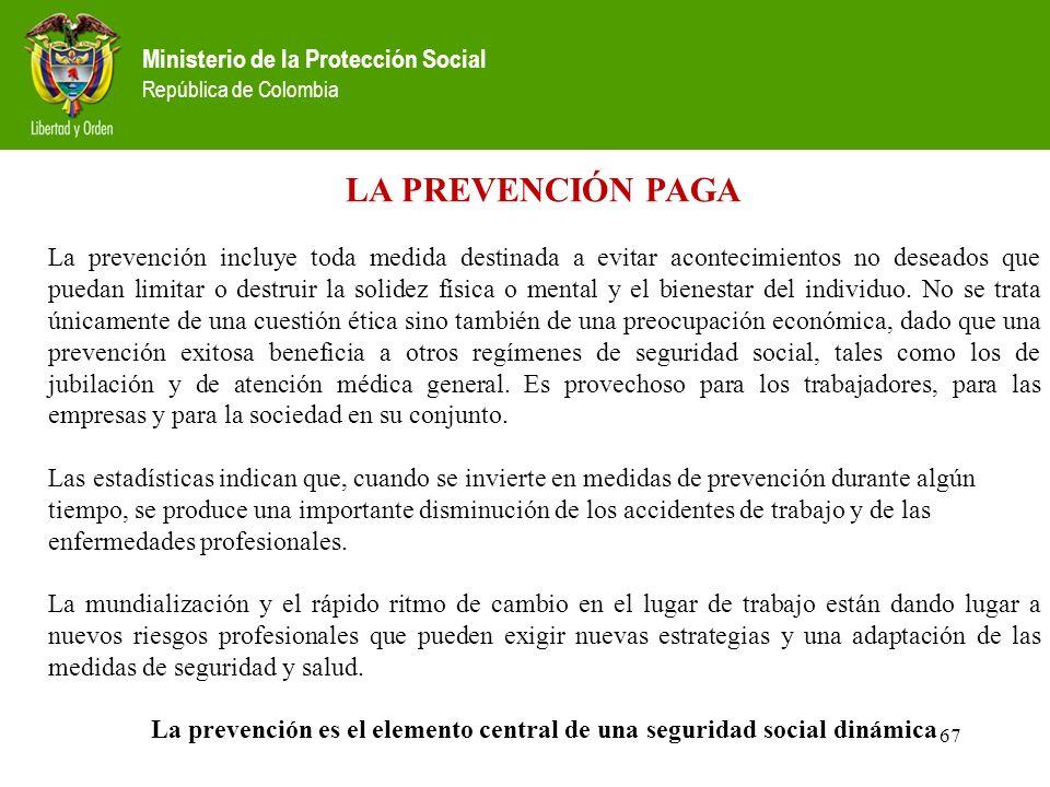 Ministerio de la Protección Social República de Colombia 67 LA PREVENCIÓN PAGA La prevención incluye toda medida destinada a evitar acontecimientos no deseados que puedan limitar o destruir la solidez física o mental y el bienestar del individuo.
