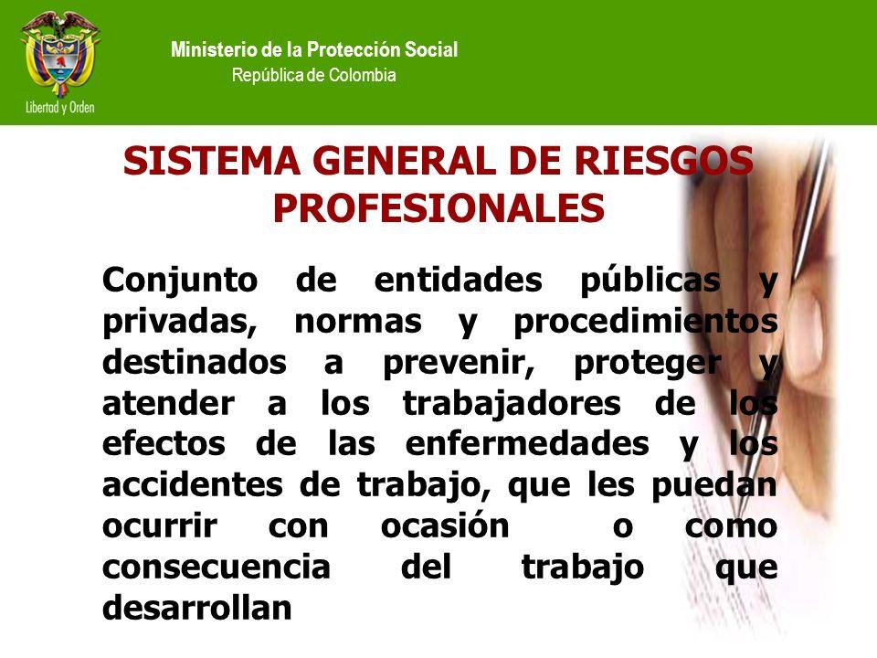 Ministerio de la Protección Social República de Colombia SISTEMA GENERAL DE RIESGOS PROFESIONALES Conjunto de entidades públicas y privadas, normas y