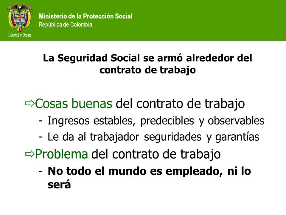 Ministerio de la Protección Social República de Colombia La Seguridad Social se armó alrededor del contrato de trabajo Cosas buenas del contrato de tr