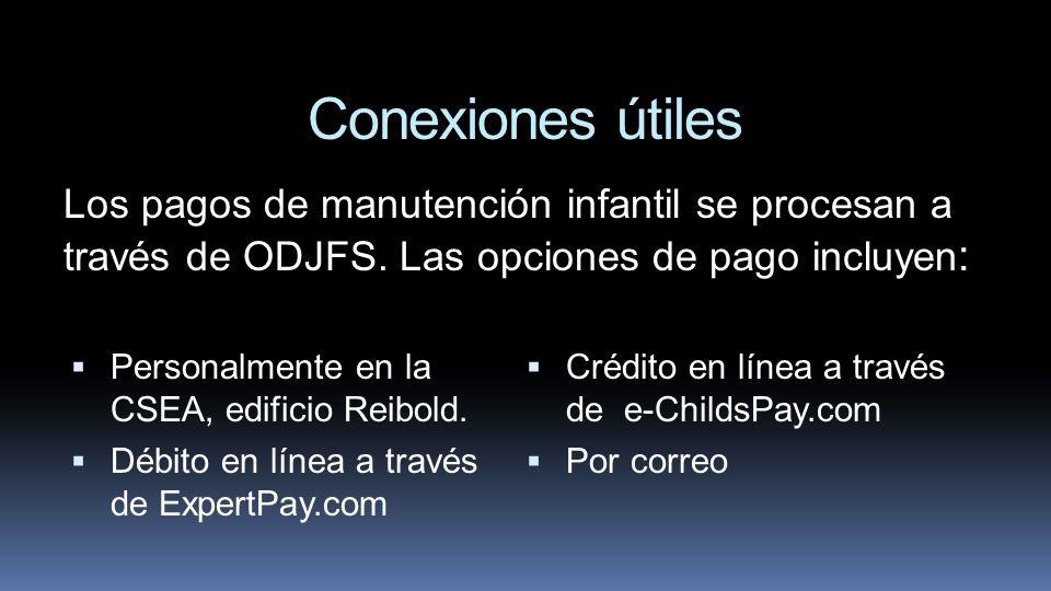 Conexiones útiles Personalmente en la CSEA, edificio Reibold. Débito en línea a través de ExpertPay.com Crédito en línea a través de e-ChildsPay.com P