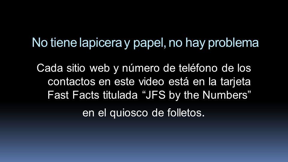 No tiene lapicera y papel, no hay problema Cada sitio web y número de teléfono de los contactos en este video está en la tarjeta Fast Facts titulada J
